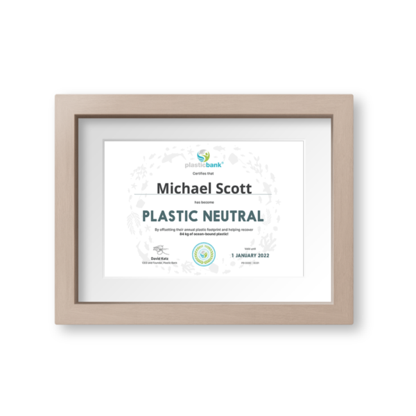 Plastic Neutral Certificate suitable for framing