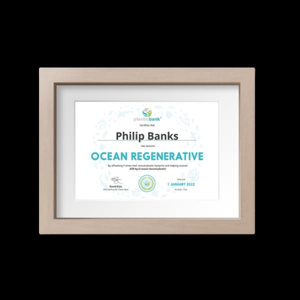 Ocean Regenerative certificate suitable for framing